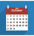 Leaf calendar 2017 with the month of October days vector image