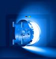light half-open door safe blue vector image vector image