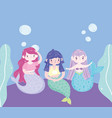 little beautiful mermaids characters bubbles vector image vector image