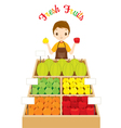 Male Shopkeeper With A Lot Of Fruits In Shop vector image