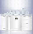 mock up of kitchen built-in dishwasher vector image