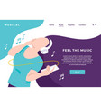 music streaming download landing page with girl vector image