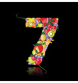 number seven made from fruits vector image vector image