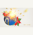 oil industry christmas design with red poinsettia vector image