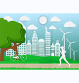 paper art man are running in city parks ecology vector image vector image