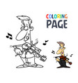 people playing violin cartoon coloring page vector image