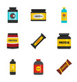 powder icons set flat style vector image vector image