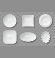 realistic food plates white empty dishes and vector image vector image