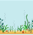 seamless border of seabed with seaweed seahorse vector image vector image