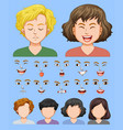 set of male and female facial expression vector image