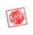 STOP red grunge rubber stamp vector image