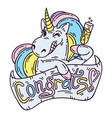 unicorn with glass of champagne vector image vector image