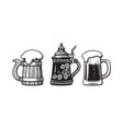 vintage beer mugs old wooden mug german stein vector image vector image