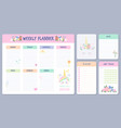 weekly planner calendar days organizers with cute vector image vector image