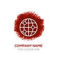 world globe icon - red watercolor circle splash vector image