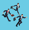 isometric businessmen running race isolated vector image