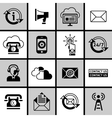Contact Us Icons Set Black and White vector image