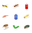 Insects icons set cartoon style vector image