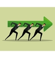 team work men arrow growth concept cooperation vector image