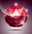 Abstract 3D red shiny sphere with sparkles ruby vector image vector image