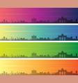 brussels multiple color gradient skyline banner vector image