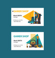 business cards on white background for video gamer vector image vector image