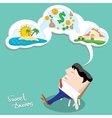 Business man dreaming cartoon vector image