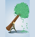 businessman lifting money tree vector image vector image