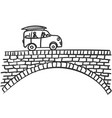 car on bridge doodle small vehicle with two stick vector image