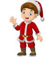 cartoon boy wearing santa costumes vector image vector image