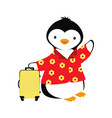 cartoon card with penguin summer with penguin vector image vector image