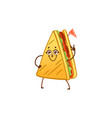 cartoon sandwich character waving hand vector image vector image