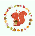 cartoon squirrel with autumn leaves vector image