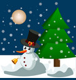 christmas background with cute snowman in snow vector image vector image