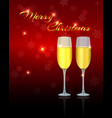 christmas greeting card template with two glasses vector image vector image