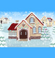 christmas landscape with christmas tree and house vector image vector image
