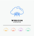 cloud computing data hosting network 5 color line vector image vector image