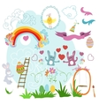 Collection of drawings Easter on a white vector image vector image