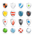 Colorful shields collection isolated on white vector image vector image