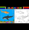 coloring book two cartoon shark vector image vector image