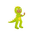 cute smiling boy in green dinosaur costume at vector image