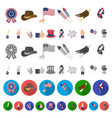 day of patriot holiday cartoon icons in set vector image vector image