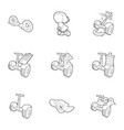 electric scooter rent icons set outline style vector image vector image