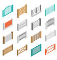 Fences Types Elements Icons Isometric Collection vector image vector image