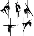 Five Pole dancers silhouettes vector image vector image
