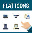 flat icon laptop set of pc processor computer vector image vector image
