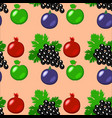 fruits - apples grapes pomegranate figs seamless vector image