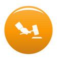 gavel in hand icon orange vector image vector image