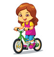 girl riding new green bicycle vector image vector image