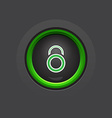 glossy dark circle lock button vector image vector image